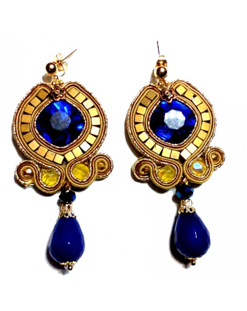 286ab80ef645 Pendientes Grandes Soutache Azul y Dorado
