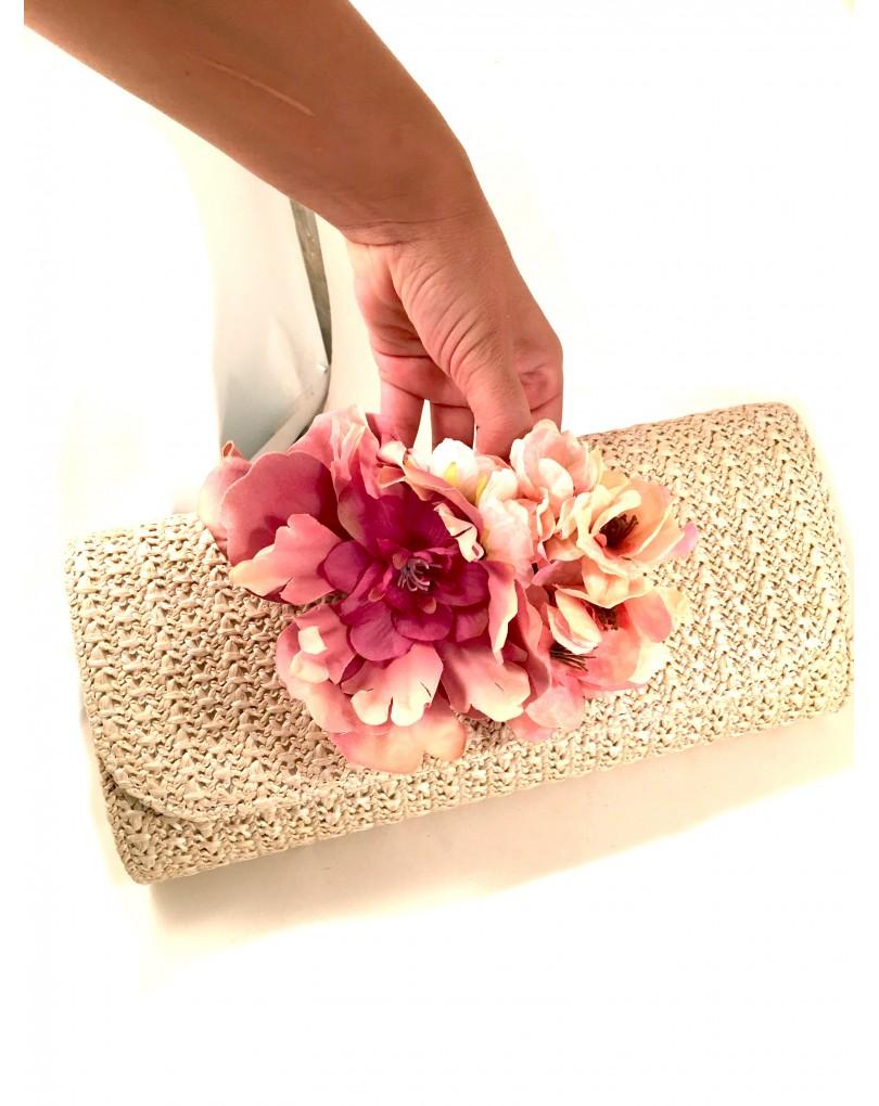 seleccione para mejor presentación precio baratas Bolso de Fiesta de Rafia con Flores   Bolsos Fiesta y Bolsos