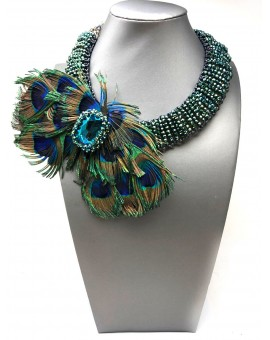 COLLAR DE PLUMAS PAVO REAL ESPECTACULAR