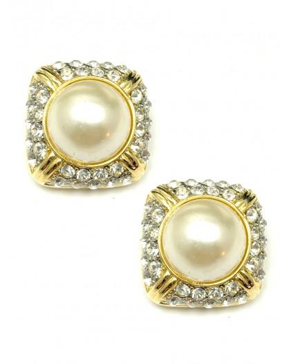 Pendiente de perla chapado en oro 18k